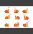 funny cartoon snails showing different emotions vector image vector image