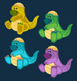 green toy baby dinosaur set vector image vector image