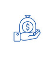 hand with money bag line icon concept hand with vector image vector image