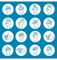 Hands gestures icons set blue vector image