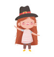 happy thanksgiving day little girl with pilgrim vector image