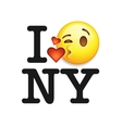 I love New York font with emoji kiss face vector image vector image
