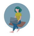 isometric girl with a laptop sitting isometric vector image vector image