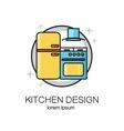 Kitchen design line logo vector image vector image