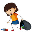 little girl picking up trash vector image vector image