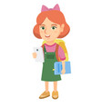 little schoolgirl holding cellphone and textbook vector image