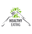 logo fork knife and green leafs vector image
