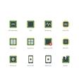 Modern computer processor color icons on white vector image vector image