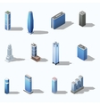Modern skyscraper isometric building set vector image