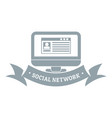 monitor social network logo simple gray style vector image vector image