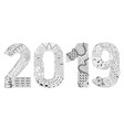 number 2019 zentangle decorative object vector image vector image