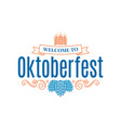 oktoberfest vintage lettering with hops and wheat vector image