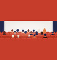 people sitting in movie theater or cinema hall vector image