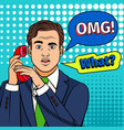 pop art surprised man with phone vector image vector image