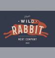rabbit vintage logo retro print poster for vector image
