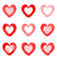 Set of design doodle drawn heart icons vector image vector image