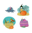 set with cute autumn pictures isolated objects on vector image