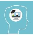 silhouette head boy computer education online vector image vector image