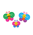 Smile Happy colorful butterfly family on the white vector image vector image
