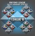soccer team group set football tournament vector image vector image