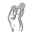 spinner in hand engraving vector image vector image