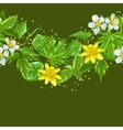 Spring green leaves and flowers Seamless border vector image