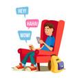 teen boy happy boy communicate on internet vector image