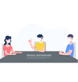 three people in family keep distance sitting vector image vector image