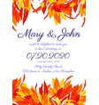 wedding invitations with autumn leaves vector image