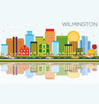wilmington skyline with color buildings blue sky vector image vector image