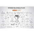 Winning Business Plan Concept with Doodle design vector image