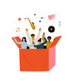 young people are gathered in one box cartoon vector image vector image