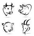 farm animals icons set vector image
