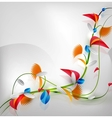 Abstract colorful floral design on gray background vector image