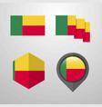 benin flag design set vector image vector image