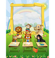 Border design with wild animals sitting in vector image vector image