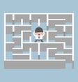 Businessman standing in center of the maze vector image vector image