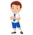 cartoon school boy in uniform posing vector image vector image