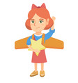 caucasian girl with airplane wings behind her back vector image