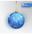 christmas bauble blue glitter isolated on white vector image vector image