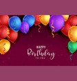colorful balloons background happy birthday card vector image