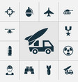 combat icons set collection of panzer aircraft vector image vector image