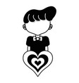 contour boy with hairstyle and heart icon vector image