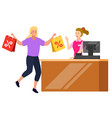 customer paying for goods at counter store vector image vector image