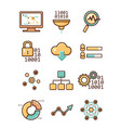 data analytic icons set vector image vector image