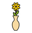 decorative vase with flower vector image vector image