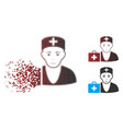 dissolving pixel halftone first-aid doctor icon vector image vector image