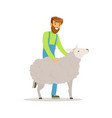 farmer man caring for his sheep farming and vector image vector image