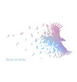 figures multicolored flock flying birds on vector image vector image