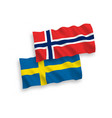 flags norway and sweden on a white background vector image